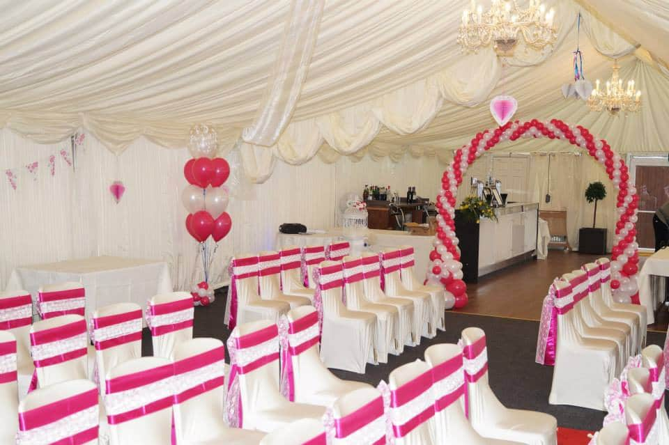 PInk and white wedding decoration available from Cardiff Balloons