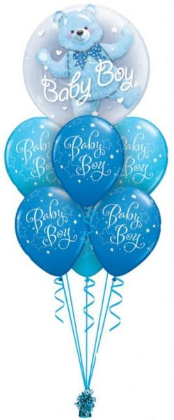 Baby boy double bubble luxury balloon available from Cardiff Balloons