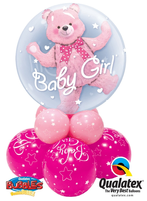Baby Girl or Baby Boy Double Bubble Super available from Cardiff Balloons