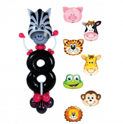Animal Character Number Display From cardiff Balloons