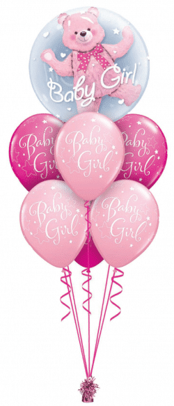 Baby Girl or Boy Bear Double Bubble Luxury balloon bouquet available from Cardiff Balloons