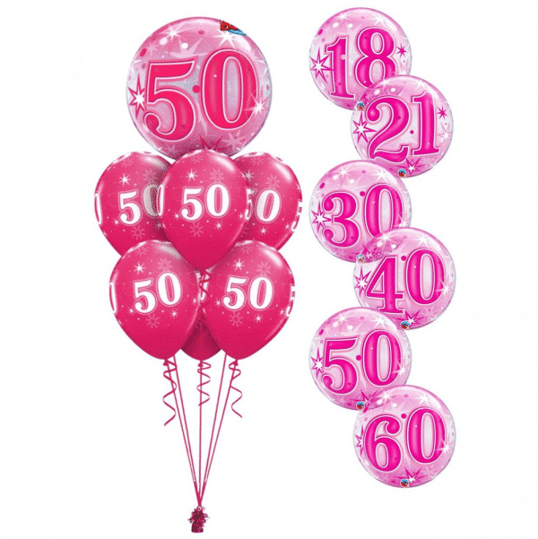 Pink Sparkle Birthday Bubble Luxury from Cardiff Balloons