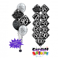 Black and Silver Birthday Classic Bouquet