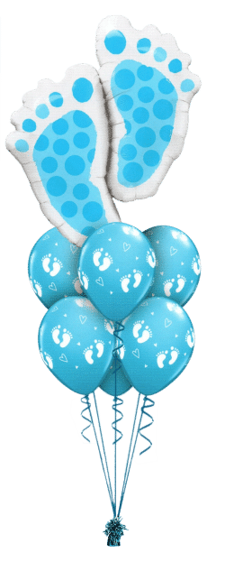 Blue Baby Footprint Luxury balloon bouquet available from Cardiff Balloons