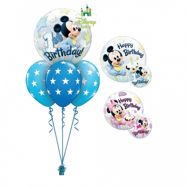 Disney 1st Birthday Bubble Layer Bouquet From Cardiff Balloons
