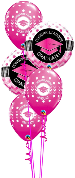 Graduation Pink Classic balloon bouquet available from Cardiff Balloons