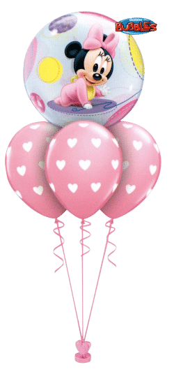 Minnie Mouse Baby Layer balloon bouquet available from Cardiff Balloons