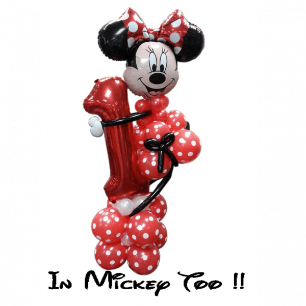 Minnie MOuse Holding A Balloon Number From Cardiff Balloons
