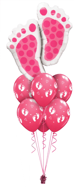 Pink Baby Footprint Luxury balloon bouquet available from Cardiff Balloons