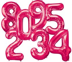 Giant Hot Pink Number Balloons