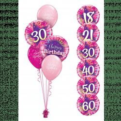 Pink Classic Birthday Balloon Bouquet