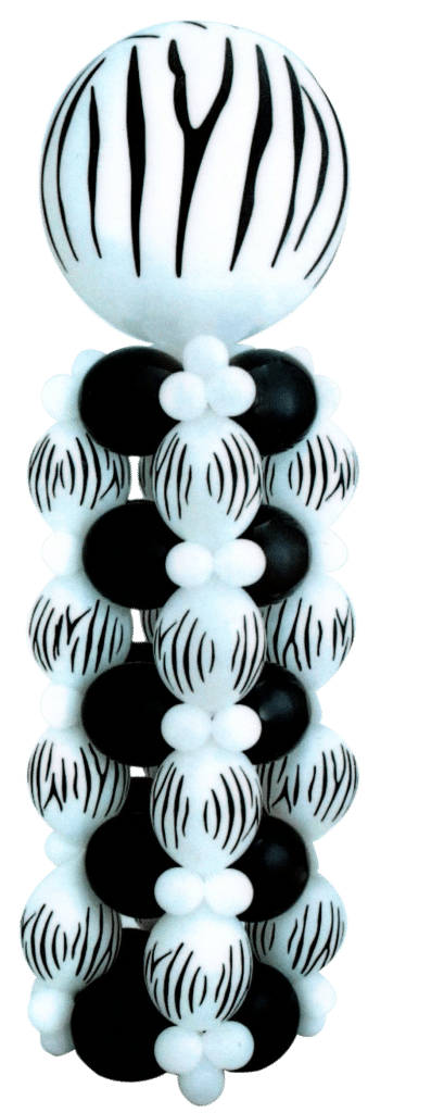 Zebra Print Tower available from Cardiff Balloons