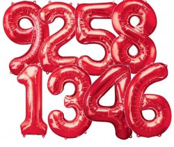 Giant Red Number Balloons