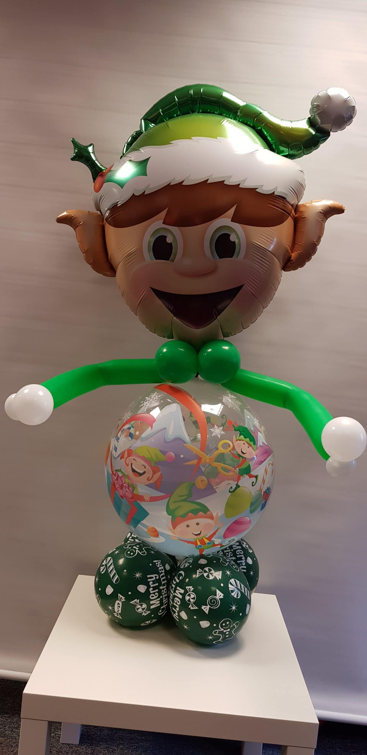 Elf balloon character available from Cardiff Balloons