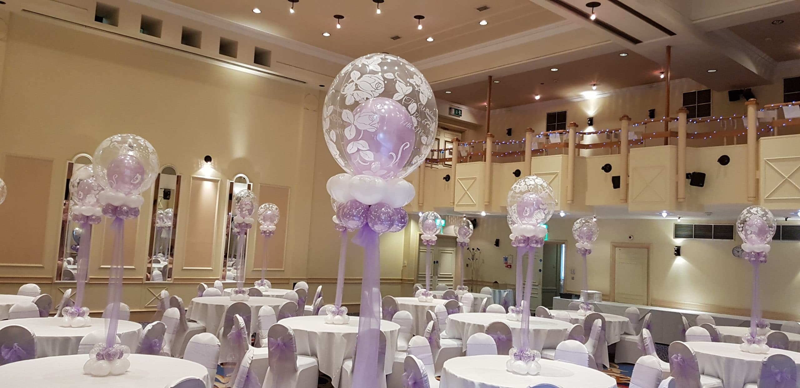 Wedding table decorations available from Cardiff Balloons