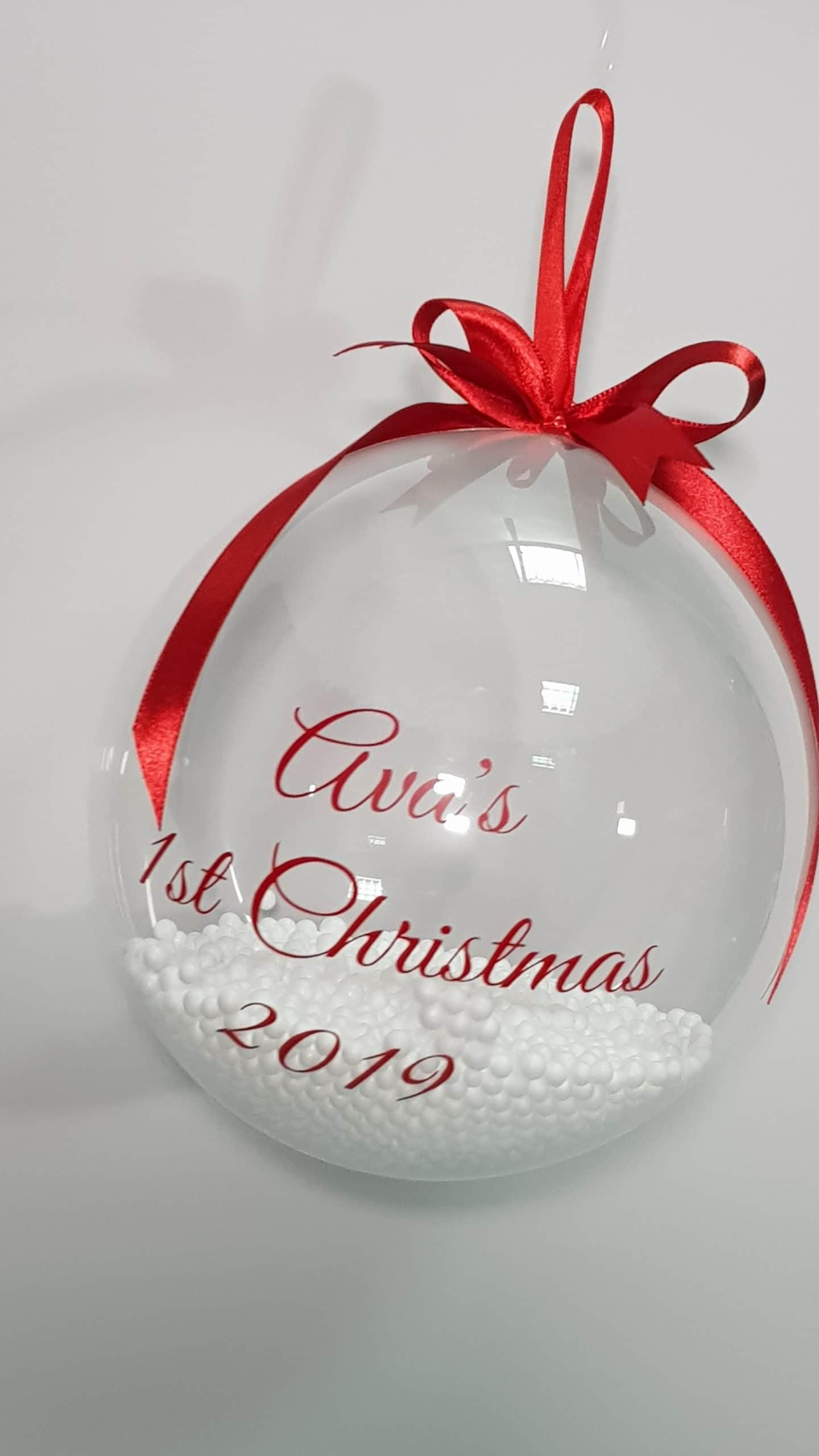 Personalised christmas bauble available from Cardiff Balloons