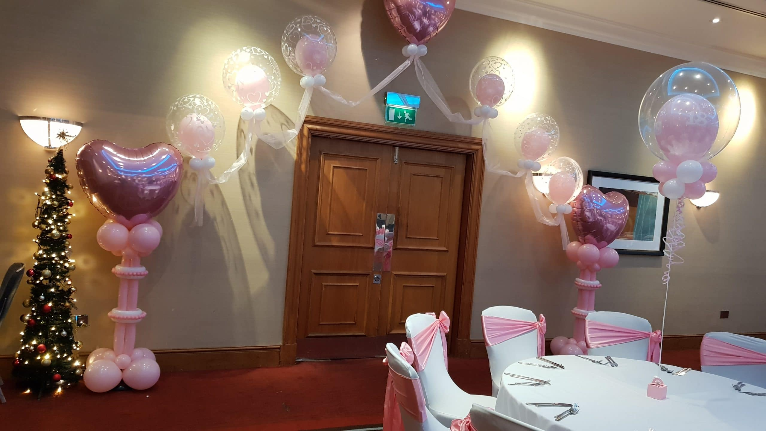 Double bubble balloon arch available from Cardiff Balloons
