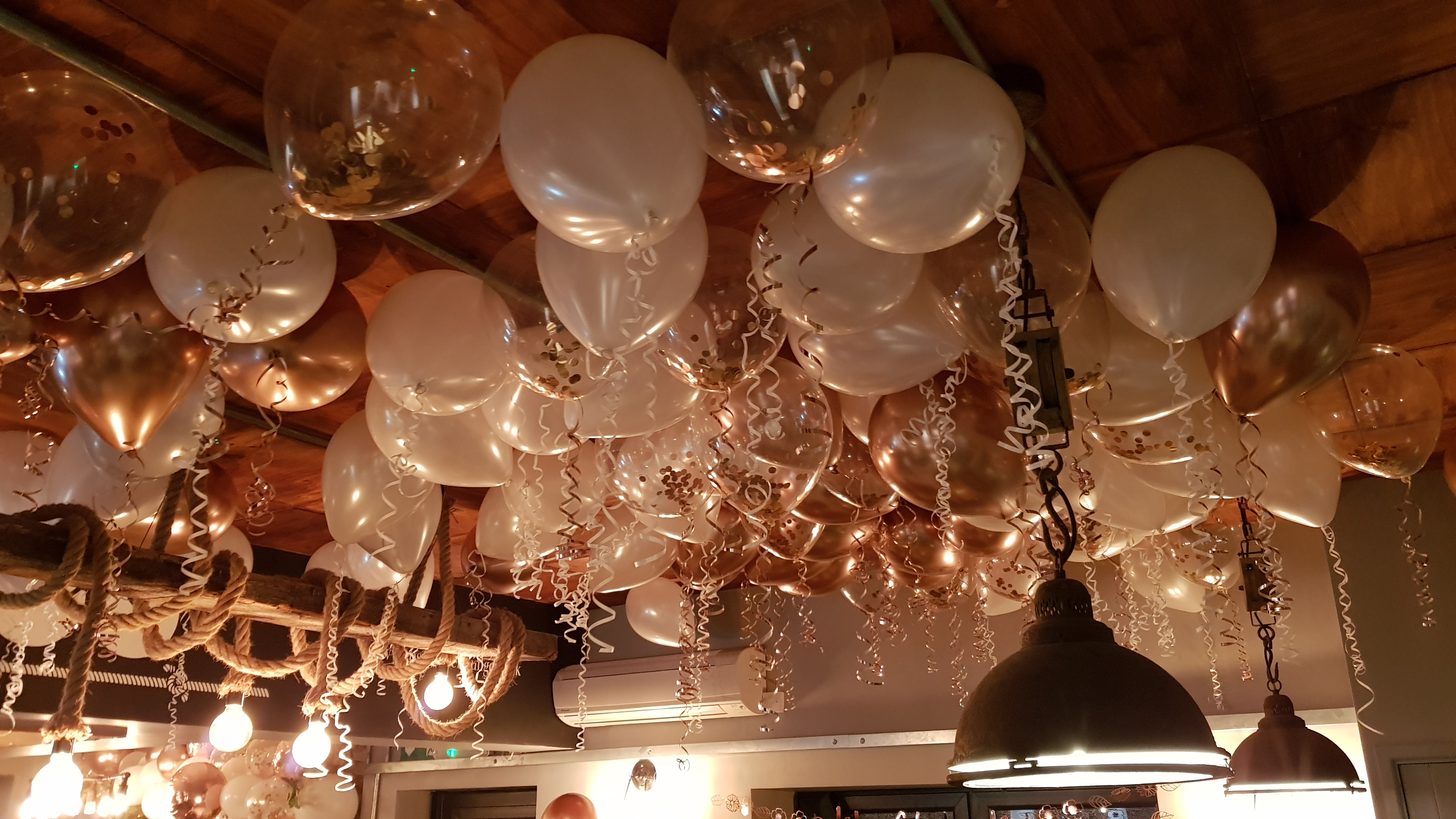 Gold and Ivory balloon ceiling available from Cardiff Balloons