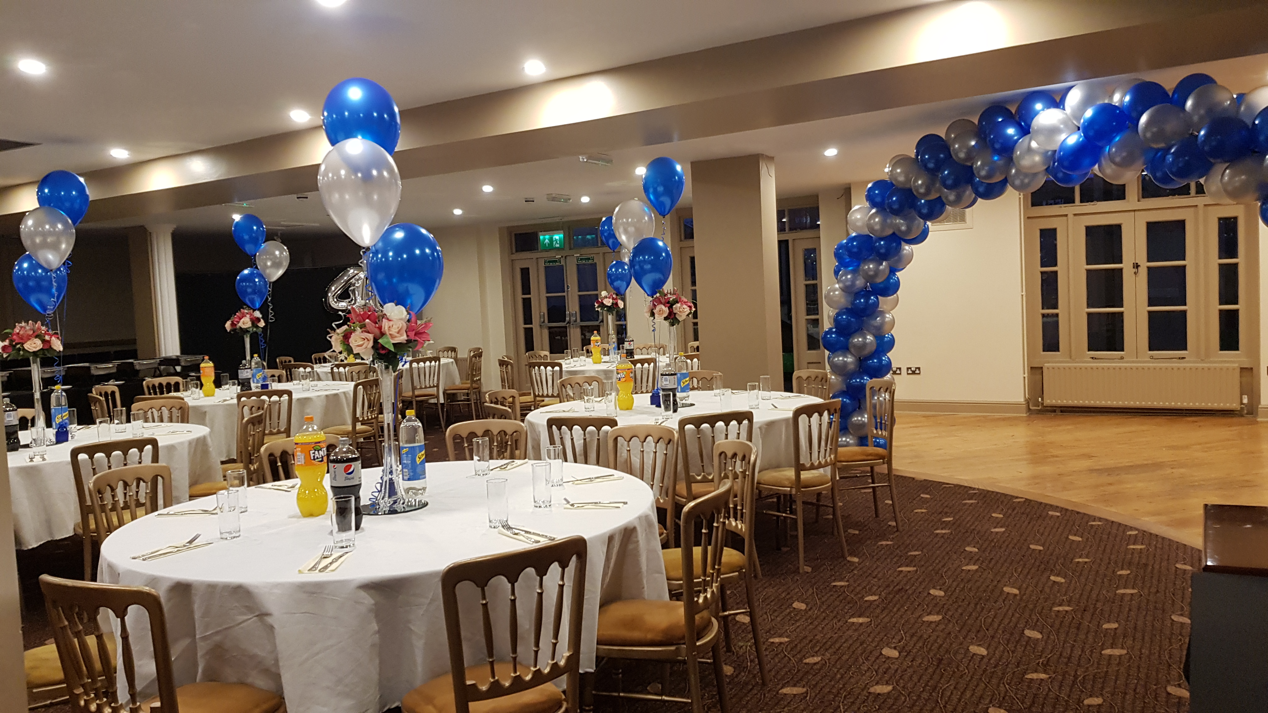 Blue and silver complete room decor available from Cardiff Balloons