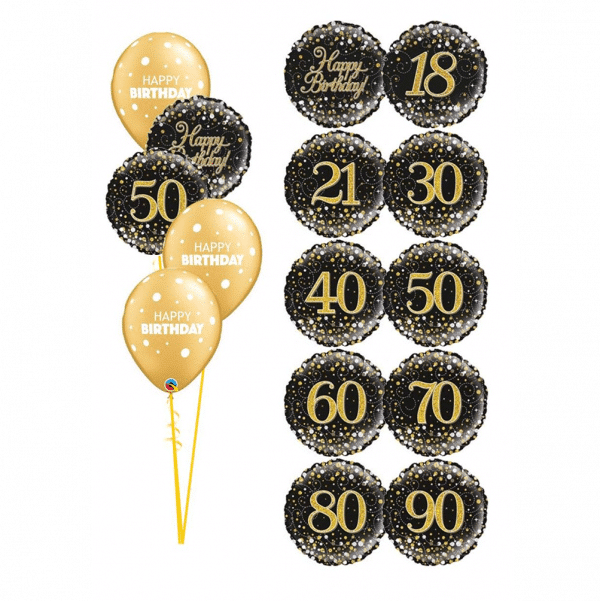 Gold and black classic birthday bouquet