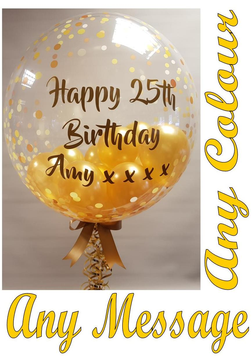 Personalised gumball balloons available from Cardiff Balloons