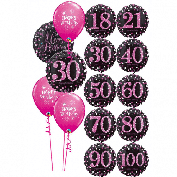 Pink And Black Birthday Balloon Bouquet