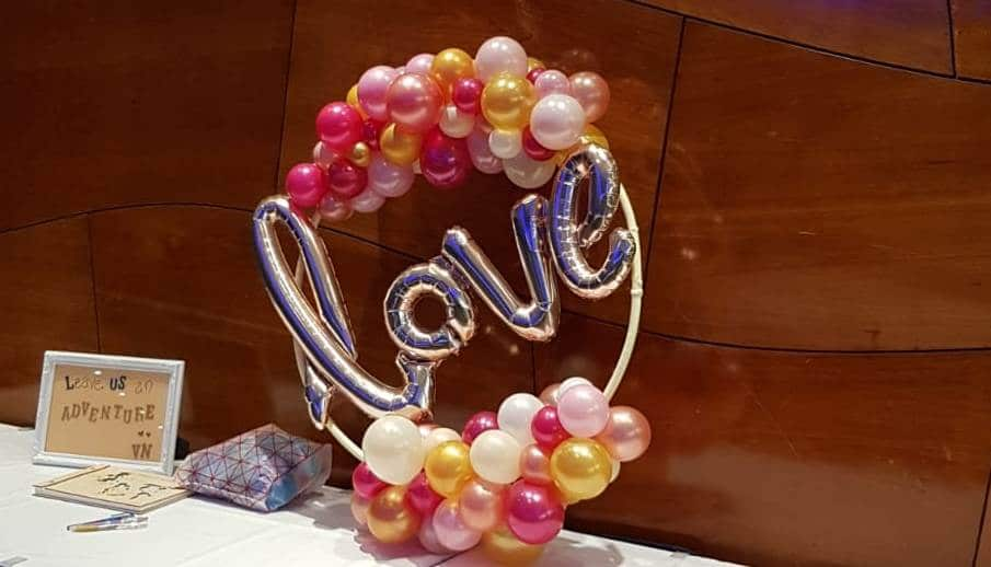 Love balloon hoop available from Cardiff Balloons