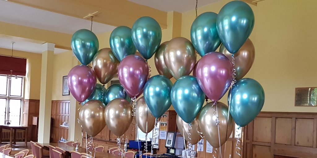 Metallic chrome table decorations available from Cardiff Balloons