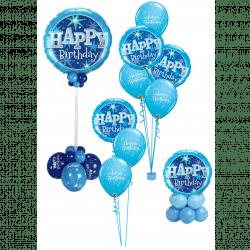 Blue Sparkle Birthday Balloons