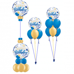 Blue and gold bubble balloons