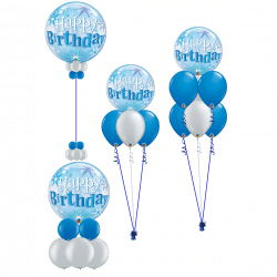 Blue and silver bubble balloons