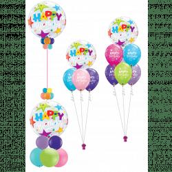 Multi coloured stars bubble balloons