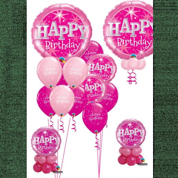 Pink Sparkle Birthday Balloons