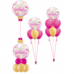 Pink and gold bubble birthday balloons