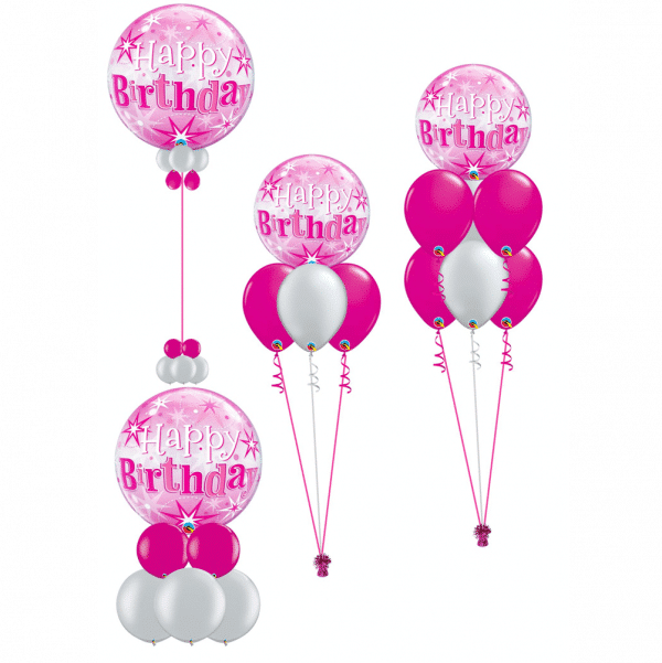 Pink and silver birthday bubble balloons