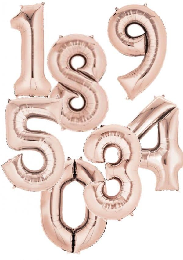 Rose Gold giant number balloons available from Cardiff Balloons
