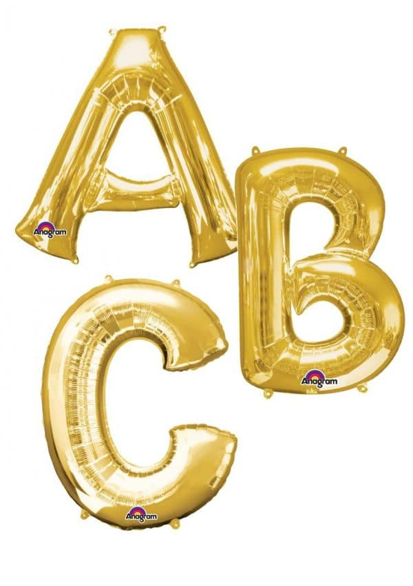 Gold giant letter balloons available from Cardiff Balloons