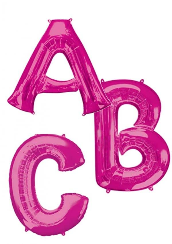 Bright Pink giant letter balloons available from Cardiff Balloons
