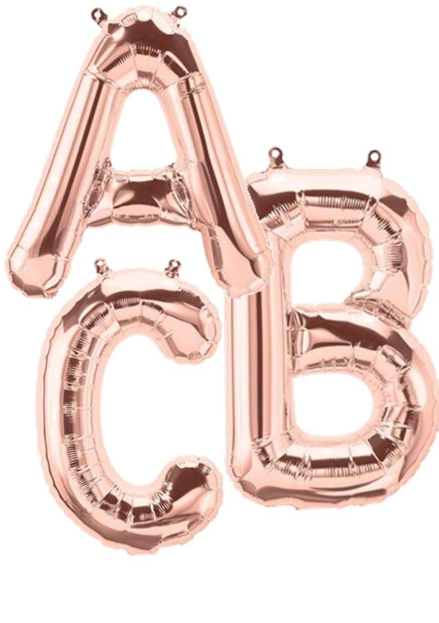 Rose gold giant letter balloons available from Cardiff Balloons