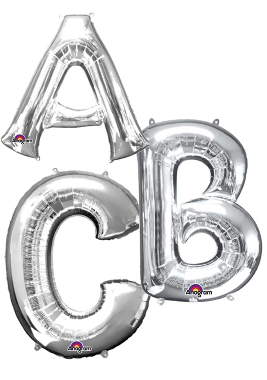 Silver giant number balloons available from Cardiff Balloons