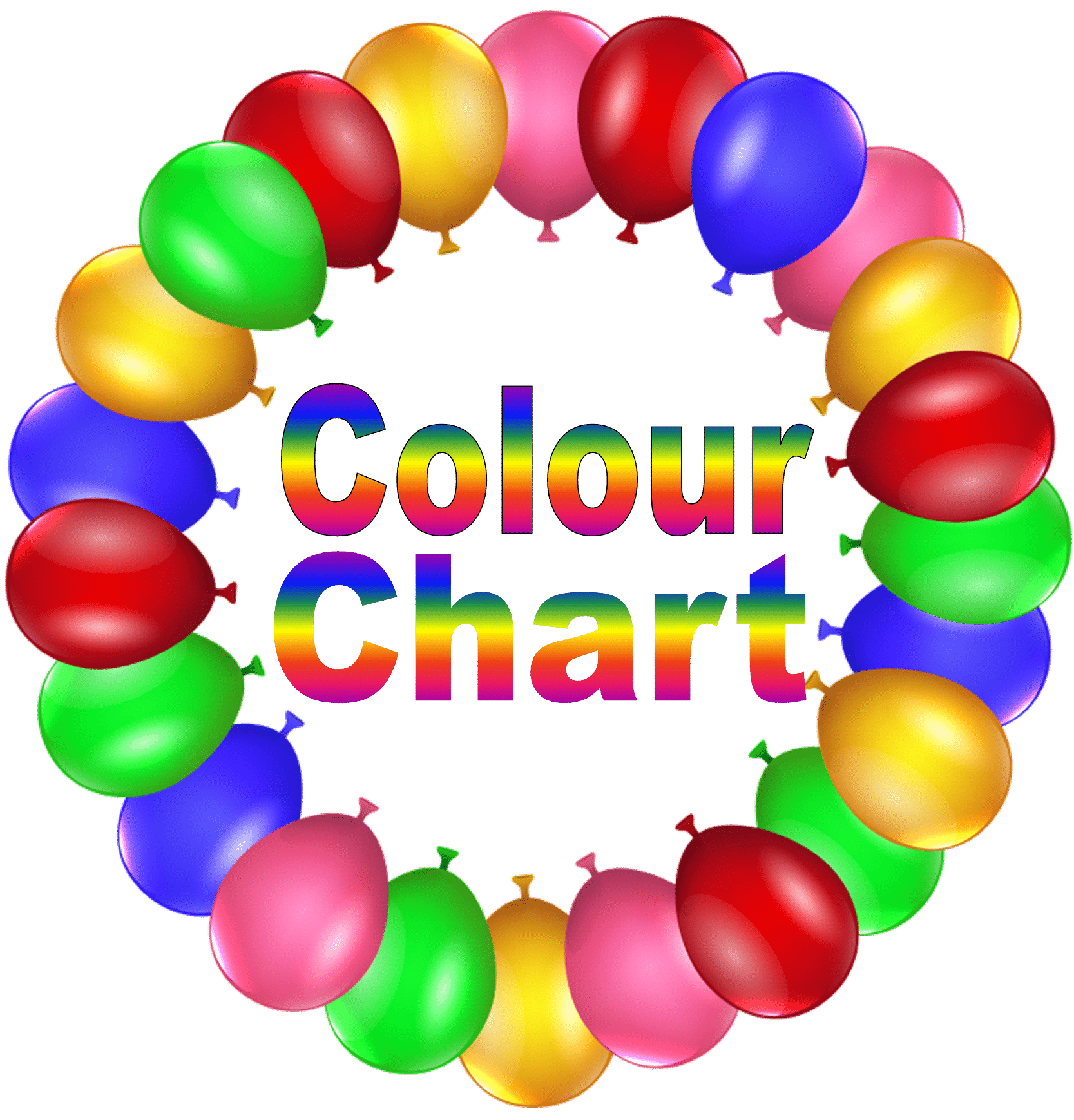 Cardiff Balloons Colour Chart