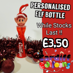 Personalised Elf Bottle Available From www.cardiffballoons.co.uk