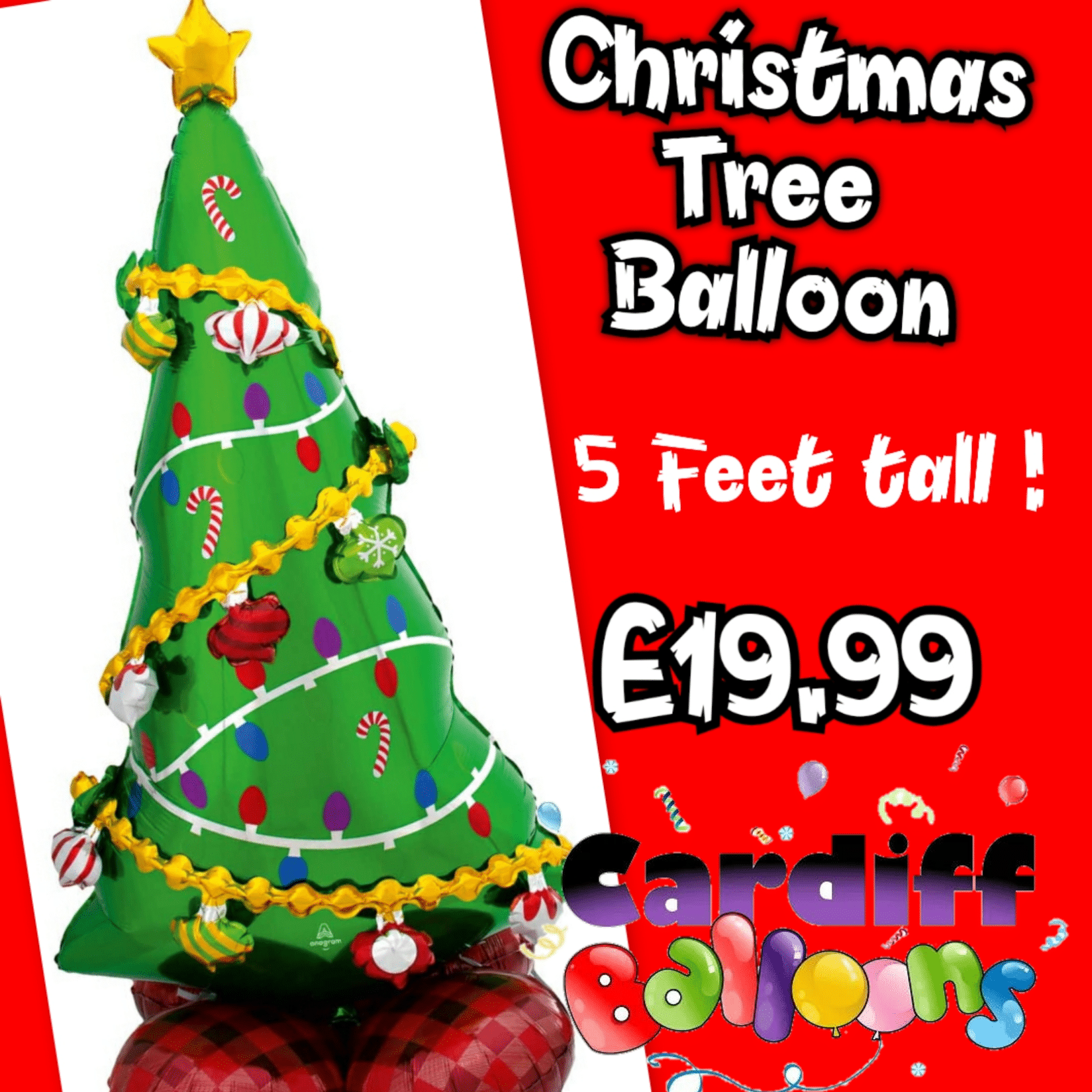 Giant Christmas Tree Foil Balloon Available From www.cardiffballoons.co.uk