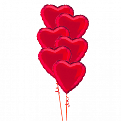 Bouquet of 6 red foil heart balloons from www.cardiffballoons.co.uk