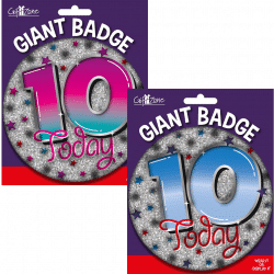 large age 10 birthday badge from cardiff balloons