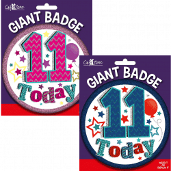 large age 11 birthday badge from cardiff balloons