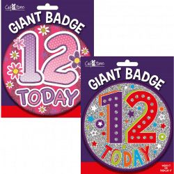 large age 12 birthday badge from cardiff balloons