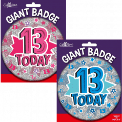 large age 13 birthday badge from cardiff balloons