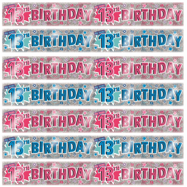 age 13 birthday banners from cardiff balloons