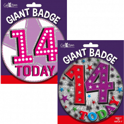 large age 14 birthday badge from cardiff balloons